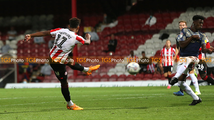 Ollie Watkins of Brentford takes a shot at the Barnsley goal during Brentford vs Barnsley, Sky Bet EFL Championship Football at Griffin Park on 22nd July 2020