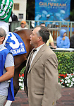 30 January 2009: Capt. Candyman Can's trainer, Ian Wilkes, gives final instructions to jockey Julien Leparoux before the 53rd running of the Grade 2 Hutcheson Stakes for three-year-olds at Gulfstream Park in Hallandale, Florida.