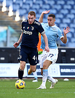 Football, Serie A: S.S. Lazio - Juventus Olympic stadium, Rome, November 8, 2020. <br /> Juventus' Dejan Kulusevski (l) in action with Lazio's Adam Marusic (l) during the Italian Serie A football match between Lazio and Juventus at Olympic stadium in Rome, on November 8, 2020.<br /> UPDATE IMAGES PRESS/Isabella Bonotto