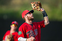Elizabethton Twins third baseman Trey Cabbage (20) catches a pop fly during the game against the Danville Braves at American Legion Post 325 Field on July 1, 2017 in Danville, Virginia.  The Twins defeated the Braves 7-4.  (Brian Westerholt/Four Seam Images)