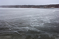 Ice formed at the center of  Hoover Reservoir.