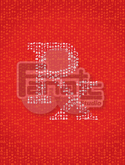 Illustration of RX sign on red background