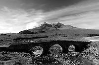 Sgurr nan Gillean, The Black Cuillin, and Sligachan Bridge, Isle of Skye, Inner Hebrides, Highland