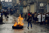 Ramalla, West bank<br /> Israel<br /> January 21, 1988<br /> <br /> Palestinians demonstrate against Israeli repression at the Kadoura Zone.