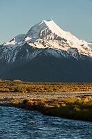 Sunrise on Aoraki Mount Cook 3,724m with Tasman River, Aoraki Mt. Cook National Park, UNESCO World Heritage Area, Mackenzie Country, New Zealand, NZ