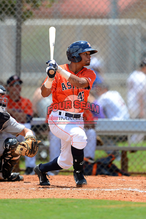 GCL Astros outfielder Jason Martin (43) during a game against the GCL Pirates on July 16, 2013 at Osceola County Complex in Kissimmee, Florida.  GCL Pirates defeated the GCL Astros 6-3.  (Mike Janes/Four Seam Images)
