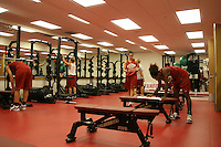 12 October 2005: Clare Bodensteiner, Jillian Harmon and Candice Wiggins working out in the weight room in Maples Pavilion in Stanford, CA.