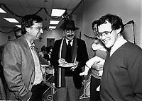 Montreal (QC) CANADA file photo - Dec 19 1987 - Robert Bourassa (L), Nick Auf Der Maur (M),Jacques Chagnon (R) visit Sun Youth