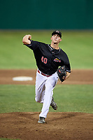 Batavia Muckdogs relief pitcher Tyler Mitzel (40) delivers a pitch during a game against the Lowell Spinners on July 16, 2018 at Dwyer Stadium in Batavia, New York.  Lowell defeated Batavia 4-3.  (Mike Janes/Four Seam Images)