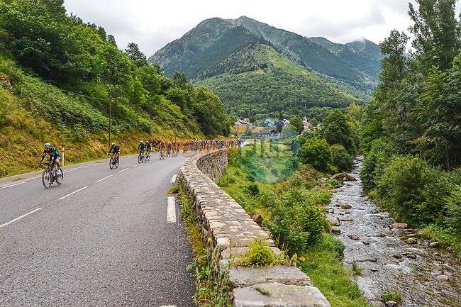 The peloton during Stage 16 of the 2021 Tour de France, running 169km from Pas de la Case to Saint-Gaudens, France. 13th July 2021.  <br /> Picture: A.S.O./Charly Lopez | Cyclefile<br /> <br /> All photos usage must carry mandatory copyright credit (© Cyclefile | A.S.O./Charly Lopez)