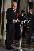Newly elected President, Sergio Mattarella <br /> Roma 03-02-2015 Quirinale <br /> Insediamento Presidente della Repubblica italiana. Newly elected President of italian Republic <br /> Foto Andrea Staccioli / Insidefoto