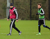 SWANSEA, WALES - JANUARY 28: in action during the Swansea City Training Session on January 28, 2016 in Swansea, Wales. (Photo by Athena Pictures/Getty Images)