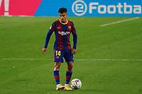 27th September 2020; Camp Nou, Barcelona, Catalonia, Spain; La Liga Football, Barcelona versus Villareal; Coutinho of Barca looks for a passing outlet
