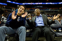 Dallas Mavericks owner Mark Cuban and Charlotte Bobcats owner Bob Johnson during an NBA basketball game Time Warner Cable Arena in Charlotte, NC.