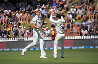 NZ's Kyle Jamieson celebrates dismissing John Campbell for 14 during day two of the second International Test Cricket match between the New Zealand Black Caps and West Indies at the Basin Reserve in Wellington, New Zealand on Friday, 11 December 2020. Photo: Dave Lintott / lintottphoto.co.nz
