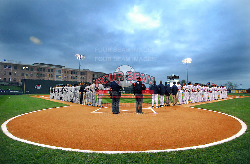 April 13, 2009: Photo of the Greenville Drive (at right) on the team's 2009 home opener against the Hickory Crawdads at Flour Field at the West End in Greenville, S.C. Photo by: Tom Priddy/Four Seam Images