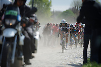 Tom Boonen (BEL/OPQS) suceeded in breaking away from the peloton and soon was joined by such powerhouses as Geraint Thomas (GBR/SKY) & Thor Hushovd (NOR/BMC)<br /> <br /> Paris-Roubaix 2014