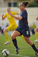 US forward Lauren Cheney runs onto the goal at an Algarve Cup match in Ferreiras, Portugal on March 1, 2010