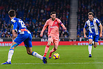 Lionel Messi of FC Barcelona (C) in action against Victor Sanchez of RCD Espanyol (R) during the La Liga 2018-19 match between RDC Espanyol and FC Barcelona at Camp Nou on 08 December 2018 in Barcelona, Spain. Photo by Vicens Gimenez / Power Sport Images