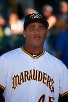 Bradenton Marauders pitcher Yeudy Garcia (45) before a game against the Fort Myers Miracle on April 9, 2016 at McKechnie Field in Bradenton, Florida.  Fort Myers defeated Bradenton 5-1.  (Mike Janes/Four Seam Images)