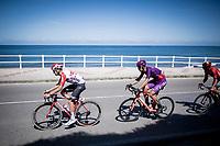 Harm Vanhoucke (BEL/Lotto-Soudal) leading the breakaway group by the seaside<br /> <br /> Stage 14: San Vicente de la Barquer to Oviedo (188km)<br /> La Vuelta 2019<br /> <br /> ©kramon