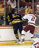 Ryan Flanigan (Merrimack - 20), Brian Dumoulin (BC - 2) - The Boston College Eagles defeated the Merrimack College Warriors 4-3 on Friday, October 30, 2009, at Conte Forum in Chestnut Hill, Massachusetts.