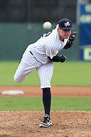 Empire State Yankees pitcher Chase Whitley #22 delivers a pitch during a game against the Norfolk Tides at Dwyer Stadium on April 22, 2012 in Batavia, New York.  Empire State defeated Norfolk 6-5, the Yankees are playing all their games on the road this season as their stadium gets renovated.  (Mike Janes/Four Seam Images)