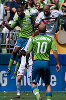 Steve Zakuani (l) of the Seattle Sounders goes up for a header against C.J.Brown  (r) of the Chicago Fire in the match at the XBox Pitch at Quest Field on July 25, 2009. The Sounders and Fire played to a 0-0 draw.