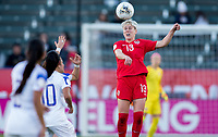 CARSON, CA - FEBRUARY 07: Sophie Schmidt #13 of Canada heads a ball during a game between Canada and Costa Rica at Dignity Health Sports Complex on February 07, 2020 in Carson, California.