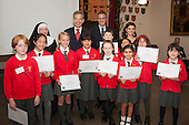 Pupils of Hampden Gurney CE Primary School.  Restoration of the Tyburn Tree Plaque at the junction of Edgware Road and Marble Arch, London.