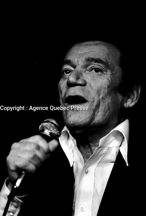 MONTREAL, CANADA - File Photo - Eddie Constantine in concert, April 2nd 1973.<br /> <br /> File Photo : Agence Quebec Presse - Alain Renaud