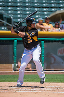 C.J. Cron (38) of the Salt Lake Bees at bat against the Albuquerque Isotopes in Pacific Coast League action at Smith's Ballpark on June 28, 2015 in Salt Lake City, Utah.  The Isotopes defeated the Bees 8-3.(Stephen Smith/Four Seam Images)
