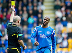 St Johnstone v Kilmarnock....02.04.11 .Michael Duberry is booked by Ref Stephen Finnie.Picture by Graeme Hart..Copyright Perthshire Picture Agency.Tel: 01738 623350  Mobile: 07990 594431