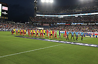 NASHVILLE, TENN - JULY 03: Jamaica and USA starting lineups during a 2019 CONCACAF Gold Cup Semifinal match between the United States and Jamaica at Nissan Stadium on July 03, 2019 in Nashville, Tennessee.