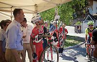 maglia rossa Giacomo Nizzolo (ITA/Trek-Segafredo) double checks his bike-weight together with the UCI ahead of his iTT<br /> <br /> stage 15 (iTT): Castelrotto-Alpe di Siusi 10.8km<br /> 99th Giro d'Italia 2016