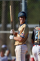 Cameron Repetti during the WWBA World Championship at the Roger Dean Complex on October 20, 2018 in Jupiter, Florida.  Cameron Repetti is a third baseman from Cypress, California who attends Cypress High School and is committed to Cal State Fullerton.  (Mike Janes/Four Seam Images)