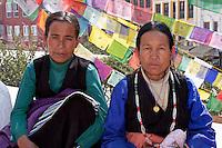 Bodhnath, Nepal.   Tibetan Women at the Buddhist Stupa of Bodhnath.