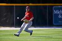 Boston Red Sox Jayce Ray (37) fields a ball during a minor league Spring Training game against the Baltimore Orioles on March 16, 2017 at the Buck O'Neil Baseball Complex in Sarasota, Florida. (Mike Janes/Four Seam Images)