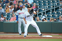 Charlotte Knights first baseman Seby Zavala (5) waits for a throw during the game against the Buffalo Bisons at BB&T BallPark on July 24, 2019 in Charlotte, North Carolina. The Bisons defeated the Knights 8-4. (Brian Westerholt/Four Seam Images)