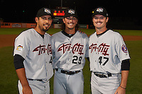 Tri-City ValleyCats pitchers Zac Person (29), Ralph Garza (41) and Kevin McCanna (47) pose for a photo after a game against the Aberdeen Ironbirds on August 6, 2015 at Ripken Stadium in Aberdeen, Maryland.  Tri-City defeated Aberdeen 5-0 as the trio combined to throw a no-hitter.  (Mike Janes/Four Seam Images)
