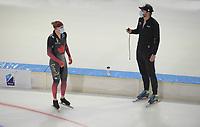 SCHAATSEN: HEERENVEEN: 13-01-2021, IJsstadion Thialf, Speed Skating training, Team Canada, Ted Jan Bloemen, trainer/ coach Remmelt Eldering, ©Photo Martin de Jong