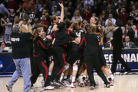 31 March 2008: Ashley Cimino, Melanie Murphy, Kayla Pedersen, Candice Wiggins, Jayne Appel and the team celebrate after Stanford's 98-87 win over the University of Maryland in the elite eight game of the NCAA Division 1 Women's Basketball Championship in Spokane, WA.