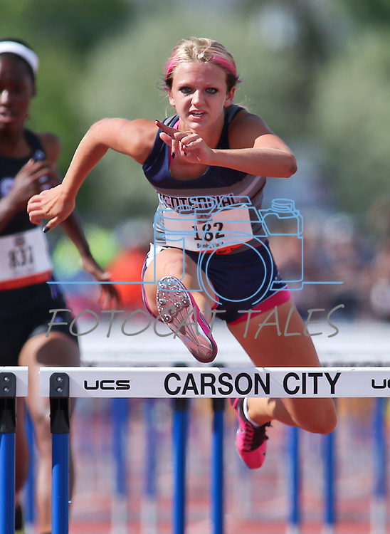Centennial's Tiana Bonds sets a state record of 13.50 seconds in the Division I girls 100-meter hurdles during the NIAA state track and field championships at Carson High, in Carson City, Nev., on Friday, May 23, 2014. (Las Vegas Review-Journal, Cathleen Allison)