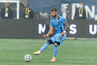 FOXBOROUGH, MA - SEPTEMBER 02: Valentin Castellanos #11 of New York City FC passes the ball during a game between New York City FC and New England Revolution at Gillette Stadium on September 02, 2020 in Foxborough, Massachusetts.