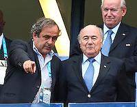 UEFA president Michel Platini talks with FIFA president Sepp Blatter