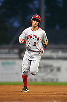 Auburn Doubledays outfielder Rhett Wiseman (2) running the bases after hitting a home run during a game against the Batavia Muckdogs on September 5, 2015 at Dwyer Stadium in Batavia, New York.  Batavia defeated Auburn 6-3.  (Mike Janes/Four Seam Images)