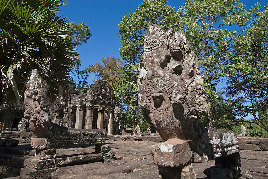 Naga balustrade on the terrace of Banteay Kdei, built by Jayavarman VII in the Bayon style, part of Angkor Wat - Siem Reap, Cambodia..