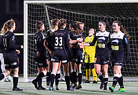 Aalst's Margaux Van Ackere pictured celebrating with her teammates after scoring a goal during a female soccer game between Sporting Charleroi and Eendracht Aalst on the 8th  matchday of the 2020 - 2021 season of Belgian Scooore Womens Super League , friday 20 th of November 2020  in Marcinelle , Belgium . PHOTO SPORTPIX.BE | SPP | DAVID CATRY