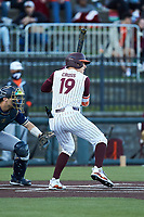Gavin Cross (19) of the Virginia Tech Hokies at bat against the Virginia Tech Hokies at English Field on April 16, 2021 in Blacksburg, Virginia. (Brian Westerholt/Four Seam Images)
