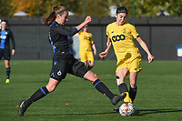20191026 – Brugge, BELGIUM : Brugge's Ellen Martens (L) and Standard's Noemie Gelders (R) pictured during a women soccer game between Club Brugge Dames and Standard Femina de Liege on the seventh matchday of the Belgian Superleague season 2019-2020 , the Belgian women's football  top division , Saturday 26 th October 2019 at the synthetic terrain 4 at the Jan Breydel site in Brugge  , Belgium  .  PHOTO SPORTPIX.BE | DIRK VUYLSTEKE